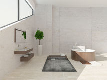 Modern luxurious bathroom interior with round wooden bathtub Royalty Free Stock Photo