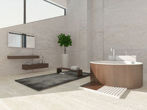 Modern luxurious bathroom interior with round wooden bathtub Stock Photography