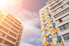 Modern, Luxury Apartment Building against blue sky. Sunlight royalty free stock photography