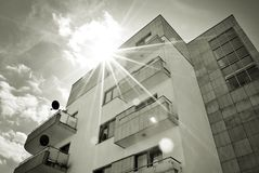 Modern, Luxury Apartment Building. Black and white. Architectural details of modern apartment building. Black and white Stock Image