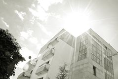 Modern, Luxury Apartment Building. Black and white. Architectural details of modern apartment building. Black and white Stock Images