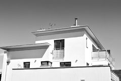 Modern, Luxury Apartment Building. Black and white. Architectural details of modern apartment building. Black and white Stock Photos
