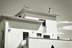 Modern, Luxury Apartment Building. Black and white. Architectural details of modern apartment building. Black and white Royalty Free Stock Photos