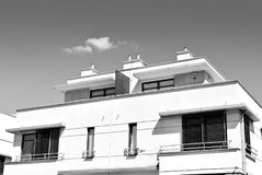 Modern, Luxury Apartment Building. Black and white. Architectural details of modern apartment building. Black and white Royalty Free Stock Photography
