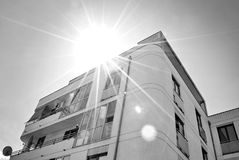 Modern, Luxury Apartment Building. Black and white. Architectural details of modern apartment building. Black and white Royalty Free Stock Photo