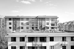 Modern, Luxury Apartment Building. Black and white Royalty Free Stock Photography