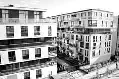 Modern, Luxury Apartment Building. Black and white Royalty Free Stock Image