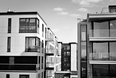 Modern, Luxury Apartment Building. Black and white Royalty Free Stock Images