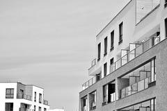 Facade of a modern apartment building. Black and white. Modern, Luxury Apartment Building. Black and white stock image