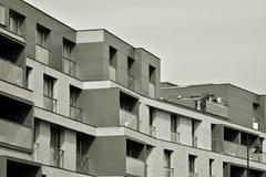 Facade of a modern apartment building. Black and white. Modern, Luxury Apartment Building. Black and white stock photos