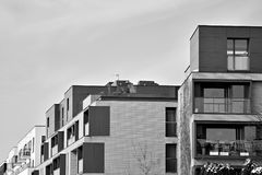 Facade of a modern apartment building. Black and white. Modern, Luxury Apartment Building. Black and white royalty free stock photography