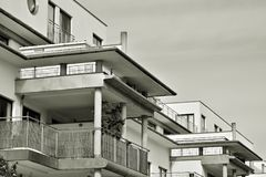 Facade of a modern apartment building. Black and white. Modern, Luxury Apartment Building. Black and white royalty free stock image
