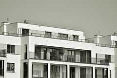 Facade of a modern apartment building. Black and white. Modern, Luxury Apartment Building. Modern facade stock photos