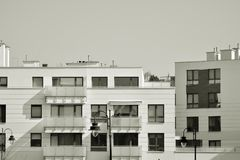 Facade of a modern apartment building. Black and white. Modern, Luxury Apartment Building. Modern facade royalty free stock image