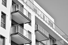 Facade of a modern apartment building. Black and white. Modern, Luxury Apartment Building. Modern facade stock photos