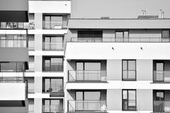 Facade of a modern apartment building. Black and white. Modern, Luxury Apartment Building. Modern facade royalty free stock photos