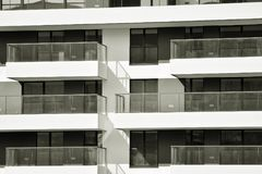 Facade of a modern apartment building. Black and white. Modern, Luxury Apartment Building. Modern facade stock photo