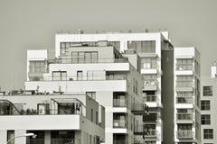 Facade of a modern apartment building. Black and white. Modern, Luxury Apartment Building. Modern facade stock image