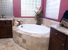 Modern luxury bathroom. In new model home Stock Photography