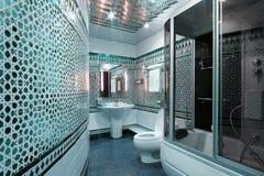 Modern luxury bathroom blue interior Stock Photos