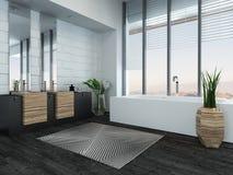 Modern luxury bathroom interior with bathtub Stock Photos