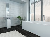Modern luxury bathroom interior with bathtub Royalty Free Stock Photo