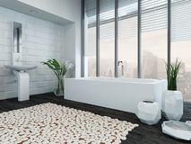 Modern luxury bathroom interior with bathtub Stock Images