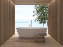 Modern luxury bathroom interior. 3d rendering. Modern wooden luxury bathroom interior. 3d rendering Royalty Free Stock Photography