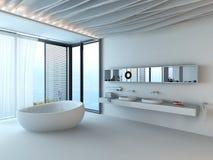 Modern luxury bathroom interior with white bathtub stock illustration