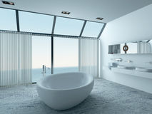 Modern luxury bathroom interior with white bathtub Royalty Free Stock Images