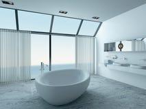 Modern luxury bathroom interior with white bathtub royalty free illustration