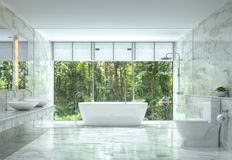 Free Modern Luxury Bathroom With Nature View 3d Rendering Image Royalty Free Stock Photography - 108086387
