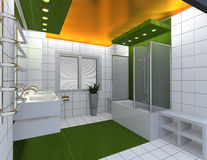 Modern luxury bathroom. Yellow green white interior. No brandnames or copyright objects Stock Photo