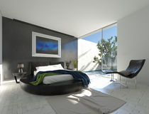 Modern luxury bedroom with black leather Stock Photography