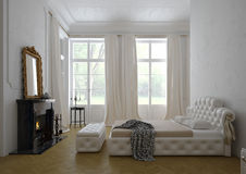 Modern luxury  bedroom interior. 3D rendering Stock Images