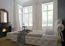 Modern luxury  bedroom interior. 3D rendering Stock Photos
