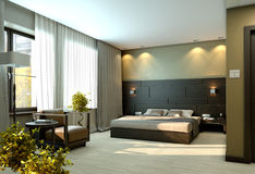Modern luxury beige bedroom. Modern luxury elegant bedroom interior Stock Image