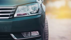 Modern luxury car close-up banner background. Concept of expensive, sports auto. stock images