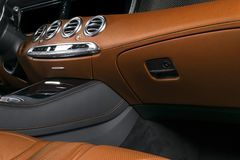 Modern Luxury car inside. Interior of prestige modern car. ComfoModern Luxury car inside. Interior of prestige modern car. Comfort. Modern Luxury car inside Stock Images