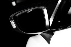 Modern luxury car wing mirror close-up Stock Photos