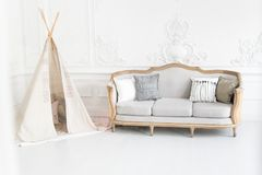Modern luxury child room interior with bed and play tent. Modern luxury child room interior with bed and play tent royalty free stock photography