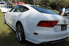 Modern luxury coupe on display at event Stock Photos