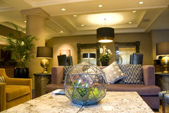 Modern luxury cozy hotel lobby. Modern hotel lobby with nice furniture and lighting Stock Image