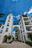 Modern luxury district in Tivat, Montenegro. Modern street architecture of luxury area in Tivat, Montenegro. Spring daytime view. Montenegro became a famous stock image