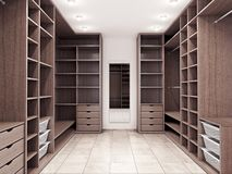 Modern luxury dressing room, wardrobe. 3d illustration royalty free illustration