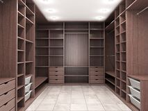 Modern luxury dressing room, wardrobe. 3d visualization royalty free illustration
