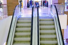 Modern luxury escalators with staircase at airport royalty free stock images