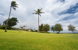 Modern luxury golf course homes at Makaluapuna Point in Maui Hawaii stock photo