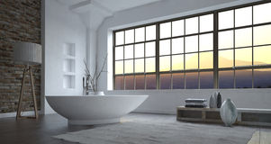 Modern luxury grey and white bathroom interior Royalty Free Stock Photos