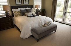 Modern luxury home bedroom. Royalty Free Stock Photography